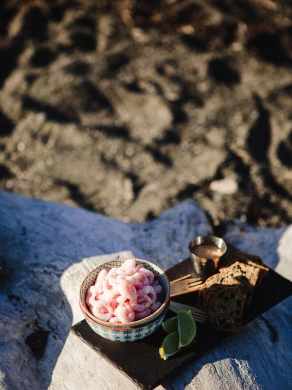 Crevettes nordiques au bord de la mer lifestyle photographe matane Rimouski
